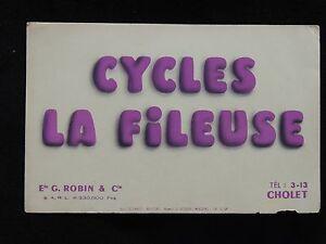 Buvard cycles La fileuse Cholet entreprise ROBIN & Cie. collection vélo - France - État : Occasion: Objet ayant été utilisé. Consulter la description du vendeur pour avoir plus de détails sur les éventuelles imperfections. ... - France