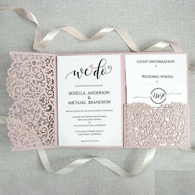 Pink Laser Cut Pocketfold Wedding