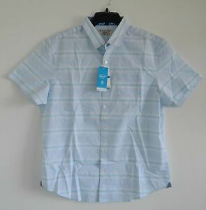Original-Penguin-Men-039-s-Horizontal-Stripe-Shirt-Short-Sleeve-Size-Large-XL-Slim