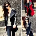 Warm Womens Long PU Leather Sleeve Mid Jacket Coat Parka Trench Windbreaker W3LE