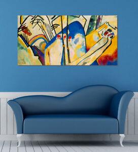 Quadro-moderno-Stampa-solo-Tela-cm-120x60-Astratto-Kandinsky-IV-Arredo-Casa