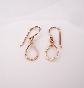 TEARDROP-14K-yellow-or-rose-gold-filled-sterling-silver-hammered-wire-earrings