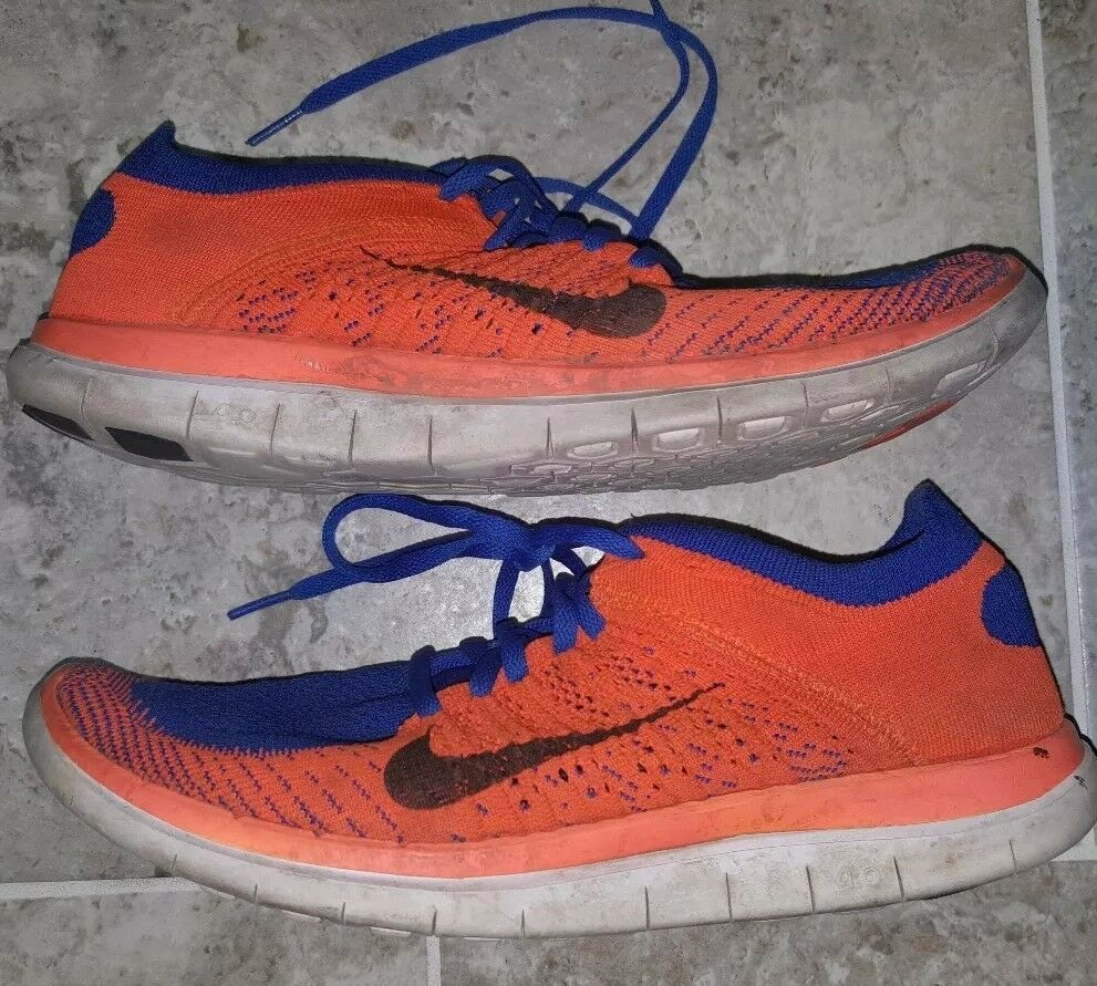 Sweet Nike Free 4.0 Flyknit Orange/Blue Men's Size US10 UK9 LOOK