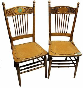 Superieur Image Is Loading Pair Of Antique Oak Pressed Back Spindle Chairs
