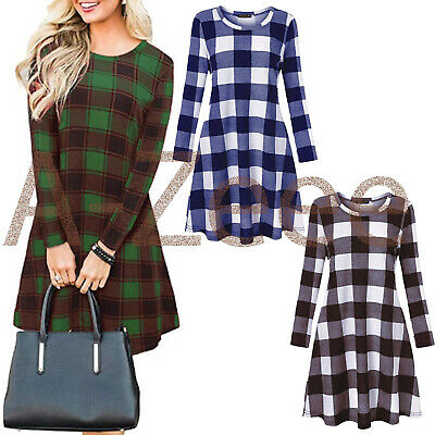 Women/'s Red Green Tartan Check Print Long Sleeve Swing Skater Dress Sizes 8-26