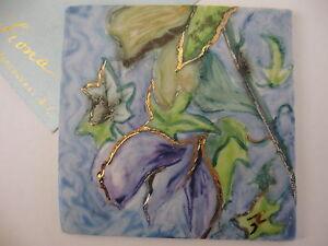 FIONA STUDIO Gold luster Porcelain Painting Miniature Artwork sweet pea flower