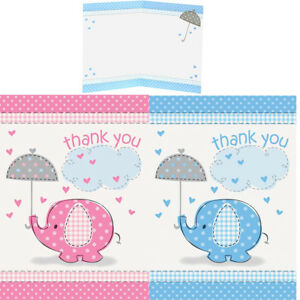 Unique Party Blue Pink Elephant Baby Shower Thank You Cards Pack Of