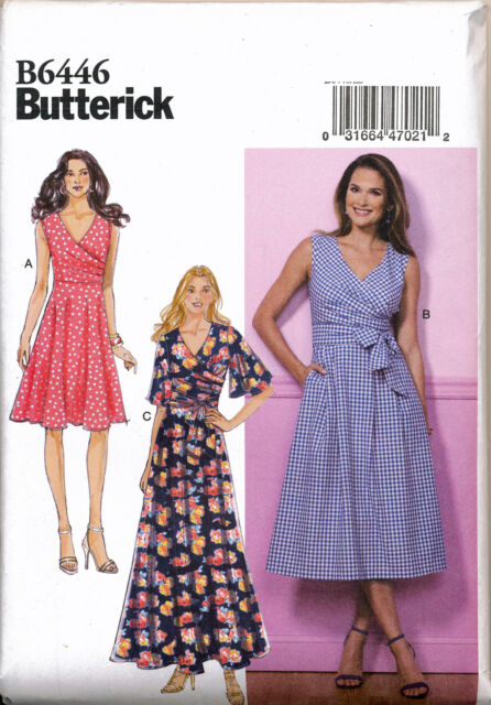 Butterick Sewing Pattern 6446 Misses 6-14 Pleated or Flared Wrap ...