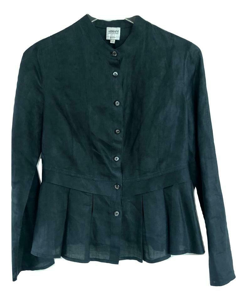 Armani Collezioni  Navy Linen  Button Up Blouse Top Jacket, Größe US 4