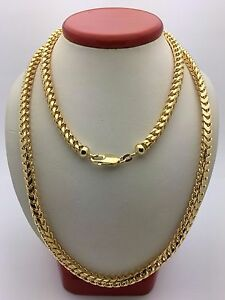 f7e3314897807 Details about 14k Yellow Gold Franco Chain Necklace 30