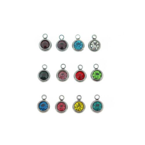 12 Gotas De Piedra Plata Tono Acero Inoxidable Encantos-Año Completo-DBD628