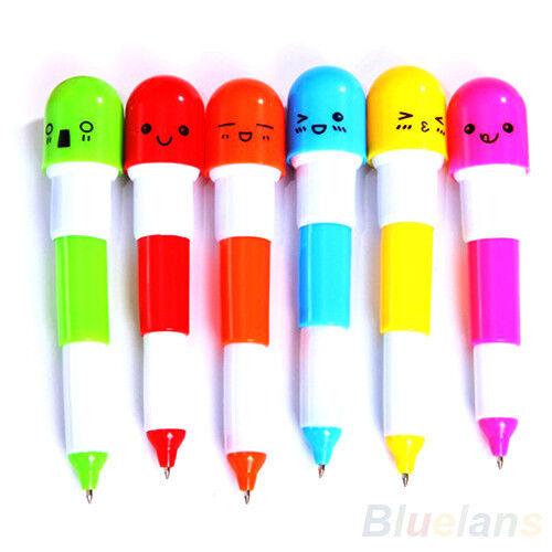 6X Cute Smiling Face Pill Ball Point Pen Telescopic Vitamin Capsule Ballpen B8BU