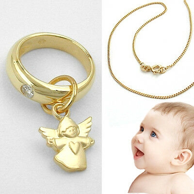 Set Taufring mit Uhr /& Kette Brillant 0,03 ct echt 585 Gold 14kt Taufe Diamant Q