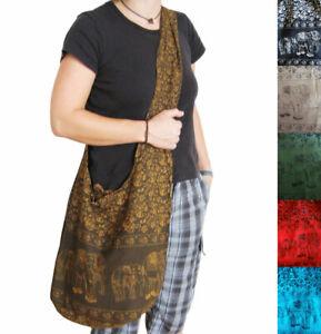 Umhaengebeutel-ELEFANTEN-Muster-Shopper-Umhaengetasche-bag-Beutel-versch-Farben
