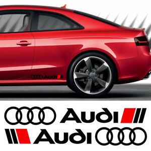 2-x-AUDI-LOGO-RINGS-CAR-VINYL-STICKERS-DECALS-SIDE-SKIRT-GRAPHICS