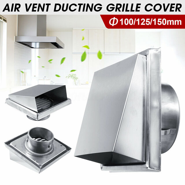 """6"""" Wall Air Vent Grille Ducting Ventilation Exhaust Outlet Cover Stainless Steel"""