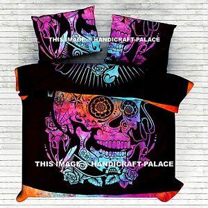 Skull Indian Mandala Queen Size Bedding Tie Dye Quilt Set Donna Duvet Cover Set