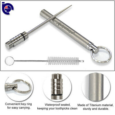 Titanium Toothpick Holder Pocket EDC Tool Waterproof Reusable Outdoor Travel Kit