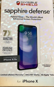 official photos d6c2c 5384c Details about ZAGG InvisibleShield Sapphire Defense – Glass Screen  Protector, iPhone X, Xs
