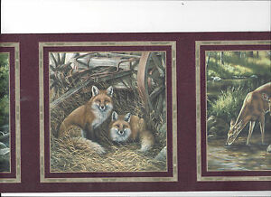 image is loading wallpaper border fox deer wolves wolf bear in - Wolf Picture Frames