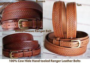 Black Basket Weave Western Ranger Belt With Basket Weave Buckle Quality USA Hand