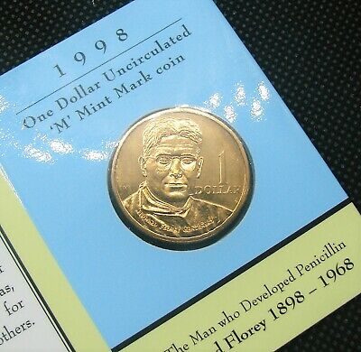 1998 $1 Australian M Mint Mark Coin Howard Florey Card UNC