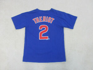 Majestic-Chicago-Cubs-Shirt-Adult-Medium-Blue-Red-Baseball-Ryan-Theriot-Mens