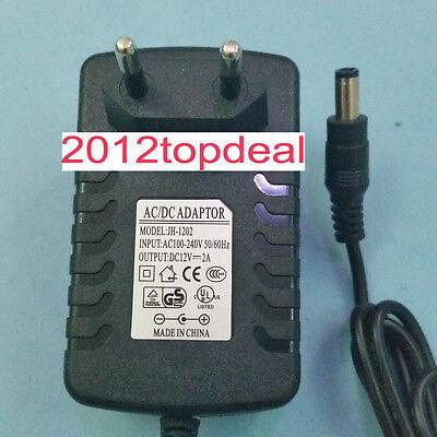 EU Plug Adapter AC 100-240V To DC 12V 2A Power Supply For 3528 5050 Strip LED
