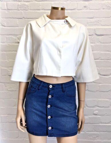 flatterende Cotton 10 Fantastisk Sportmax Uk Jacket Cropped Hvid Design qwXBUU