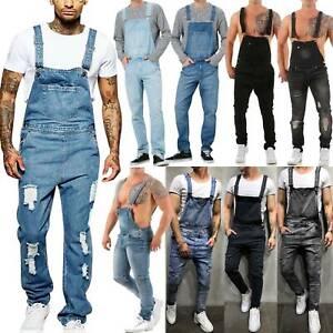 Men-Denim-Dungaree-Bib-Overalls-Pants-Work-Jumpsuit-Ripped-Cargo-Jeans-Trousers