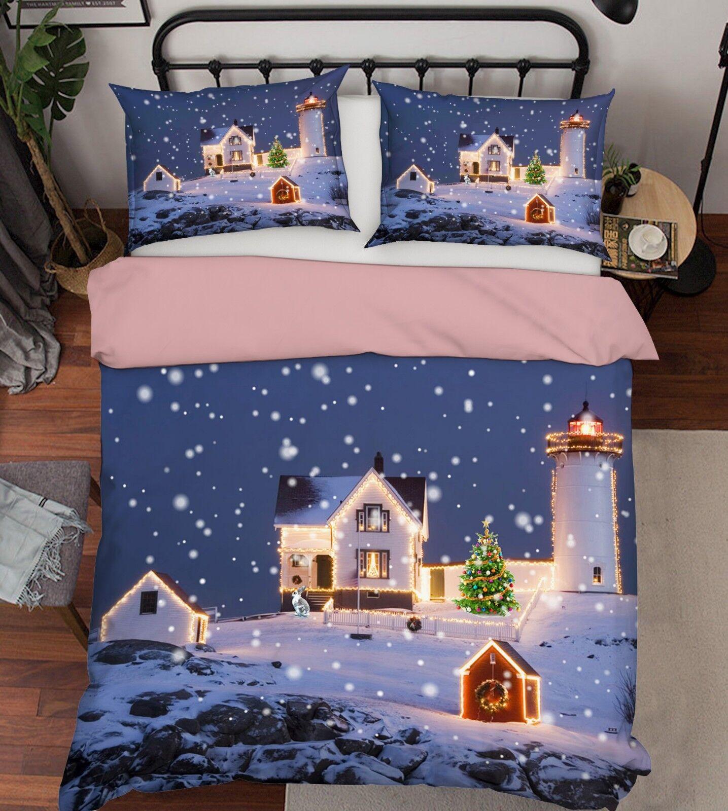 3D Christmas  Xmas 32 Bed Pillowcases Quilt Duvet Cover Set Single Queen King UK