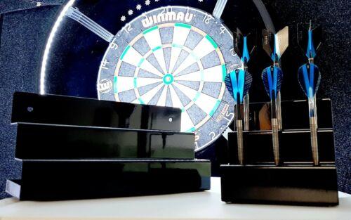 Dartpfeilständer Alu für 12 Darts in Schwarz Rot und Blau