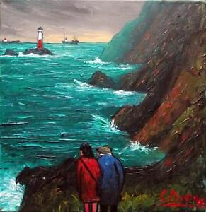 Image Is Loading Cliff View Amp Lighthouse Original BEST Oil Painting