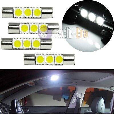 4x White 3-SMD-5050 29mm 6641 Fuse LED Bulbs Vanity Mirror Light Sun Visor Lamps