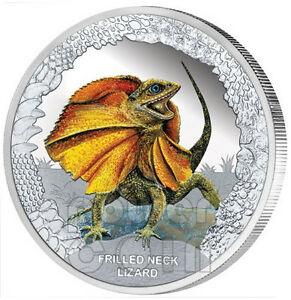 FRILLED-NECK-LIZARD-Remarkable-Reptile-Silver-Proof-Coin-1-Tuvalu-2013