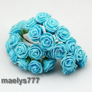 Rose-en-mousse-bleu-fleur-artificielle-2cm-decoration-mariage-bapteme-144pcs