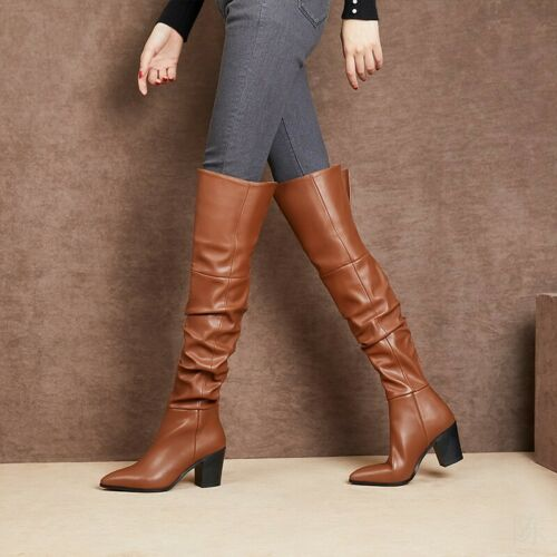 Details about  /Women Leather Pointy Toe Block Heel Over The Knee High Riding Boots Outwear Hot