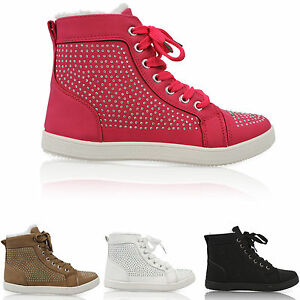LADIES-WOMENS-FUR-ANKLE-HIGH-TOP-GIRLS-LACE-UP-CASUAL-WARM-FLAT-TRAINERS-SHOES