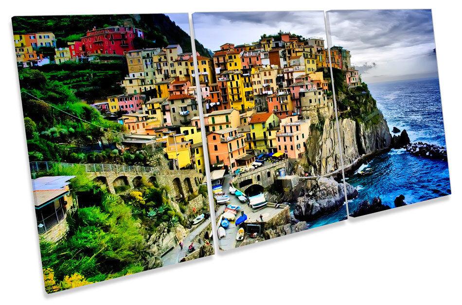 Manarola Liguria  TREBLE CANVAS Wand Kunst Bild Drucken