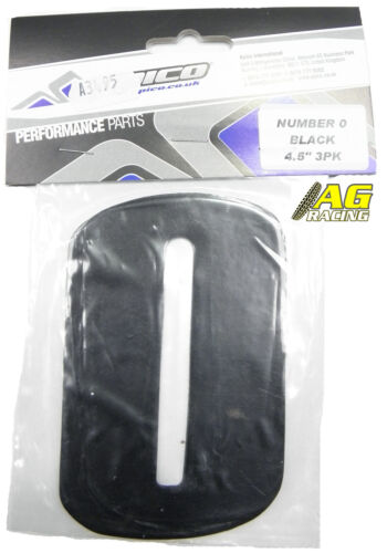 Apico Number 0 No 0 Black Stickers Decals 4.5 inch Motocross Enduro