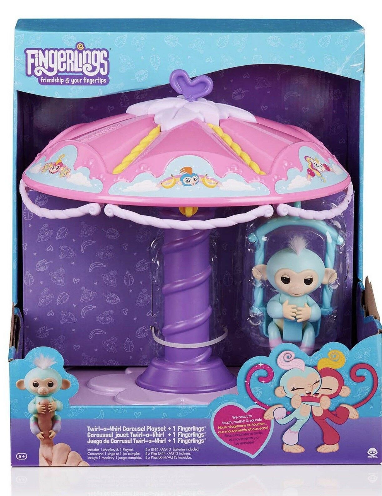 WowWee New Fingerlings Carousel Playset With 1 Fingerling Baby Monkey bluee Pink
