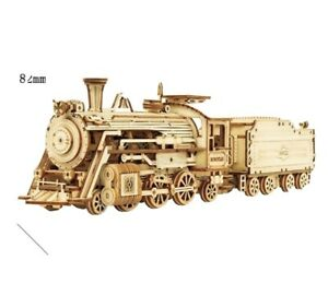 ROKR Train Model 3D Wooden Puzzle Toy Assembly Locomotive Gift Kids