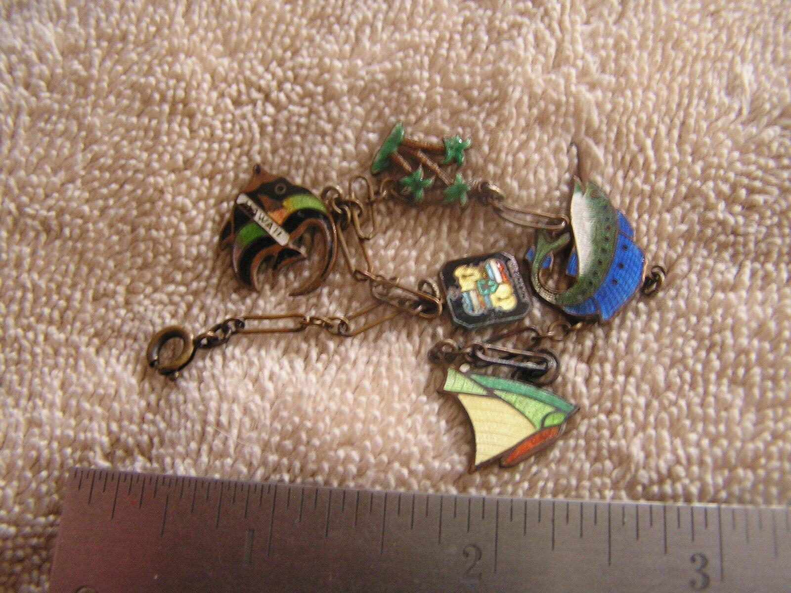 Vintage Enamel Hawaii Tourist Charm Bracelet