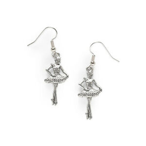5014 Large Hammered Pewter Cross Charms on St Silver Ear Wire Dangle Earrings