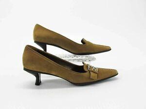 Prada Women Shoe Size 7B EUR 37.5 Tan Brown Suede Kitten