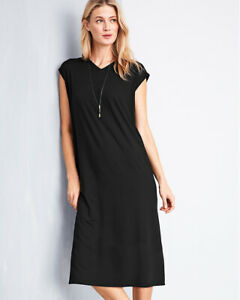 Eileen-Fisher-L-Large-Black-V-Shift-Tunic-Midi-Dress-Viscose-Jersey-Cap-Sleeve