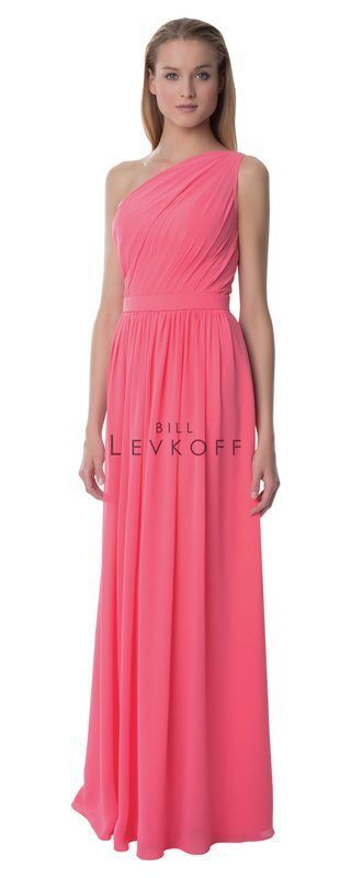 Bill Levkoff One Shoulder Asymmetrical Coral Bridesmaids Prom Dress Sz 12 991