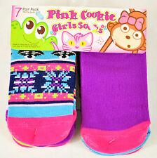 NWT! LITTLE GIRLS PINK COOKIE SHORTIE SOCKS 7 PAIR SIZE 7-8.5 CUTE RETAIL $12