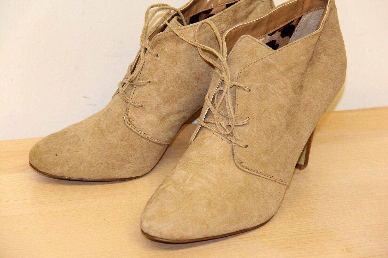 NIB ALFANI CARLINA Suede Ankle Shooties Heeel Boots Size 11 M Beige
