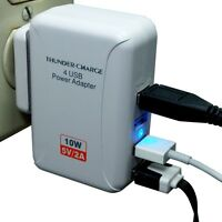 4 Port White 2.0a 10w Usb Home Wall Charger Ac Us Plug Iphone Samsung Lg Nexus